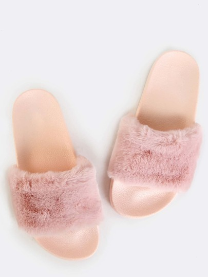 Fluffy Fur Slide Sandals PINK