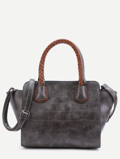Grey Embossed PU Handbag With Strap