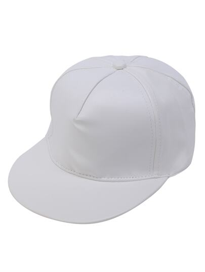 White Faux Leather Hip Hop Baseball Cap