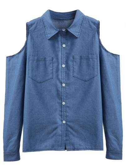 Blue Open Shoulder Pockets Shirt