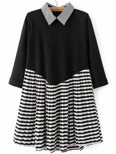 Black Striped 2 in 1 Pleated Dress