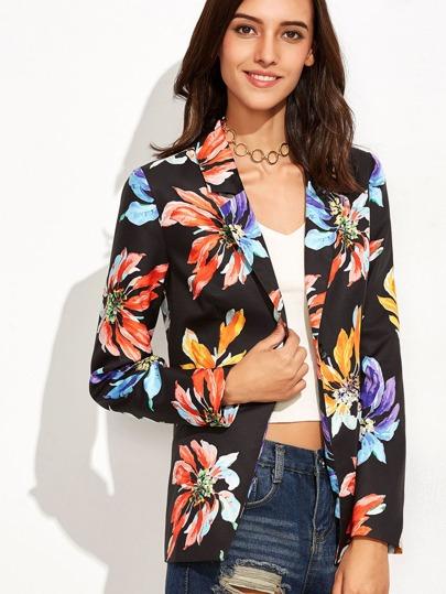 Flower Print Single Button Pockets Blazer