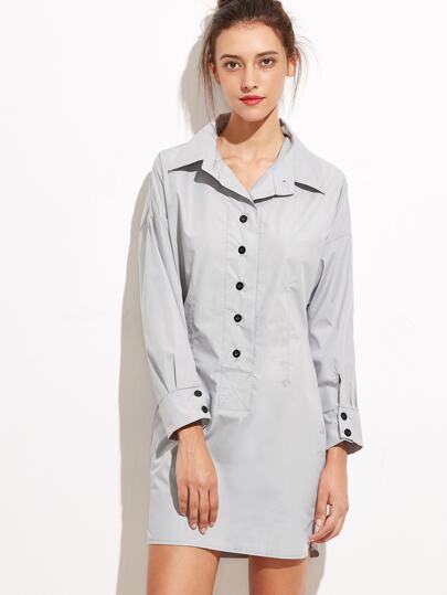 Pale Grey Button Front Shirt Dress