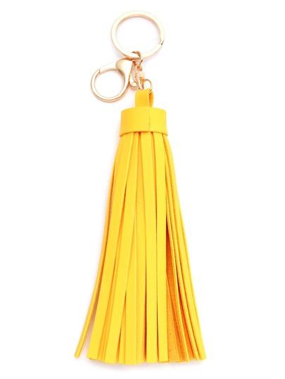 Yellow Faux Leather Tassel Keychain