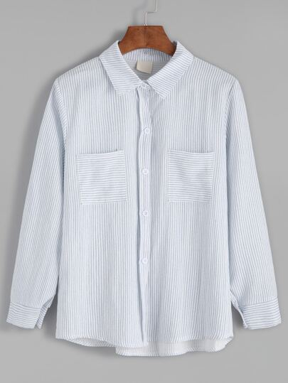 Pale Blue Striped Pockets Shirt