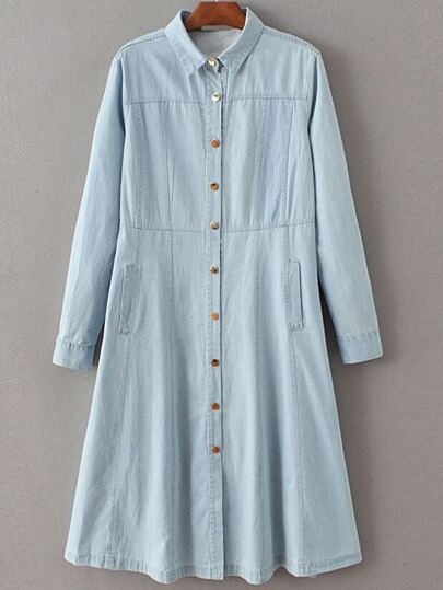 Blue Embroidery Back Single Breasted Denim Dress