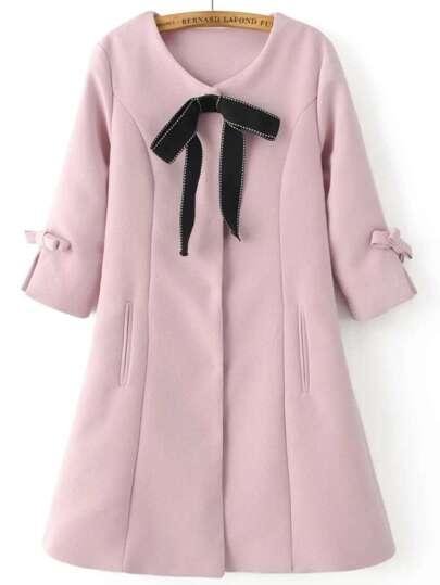 Pink Bow Embellished Hidden Button Slim Coat