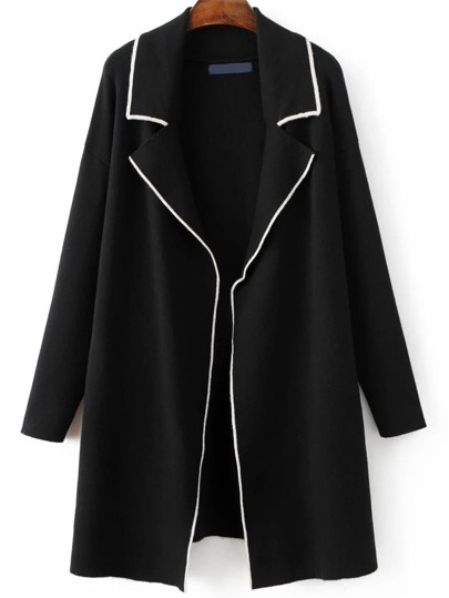 Black Contrast Edge Open Front Sweater Coat