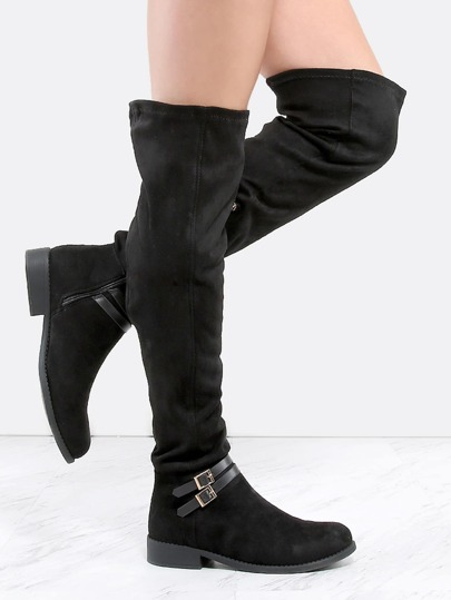 Double Mini Buckle Tall Boots BLACK