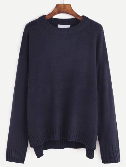 Navy Dip Hem Drop Shoulder Sweater