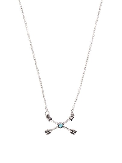 Antique Silver Cross Arrow Turquoise Pendant Necklace