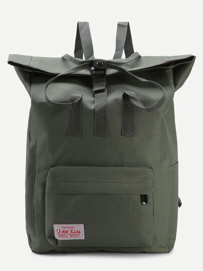 Canvas Rucksack vorne Reißverschluss-grün