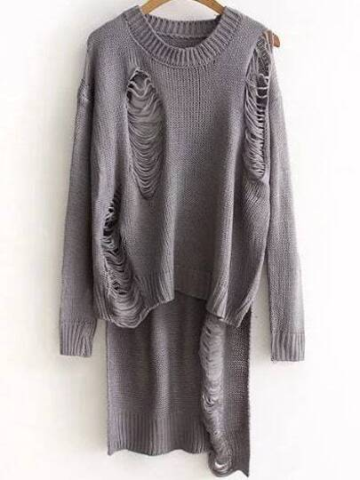 Grey Ripped Drop Shoulder High Low Sweater