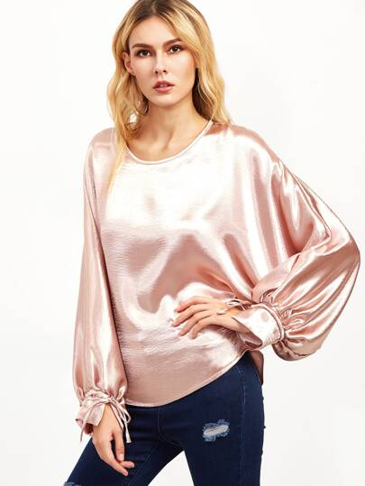 Metallic Pink Drawstring Cuff Bishop Sleeve Blouse