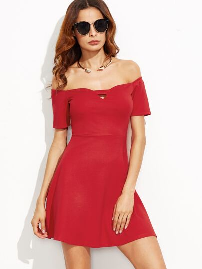 Red Off The Shoulder Skater Dress With Cutout Detail