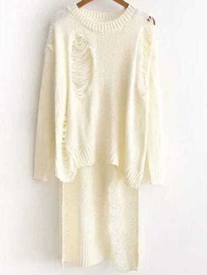 Beige Ripped Drop Shoulder High Low Sweater