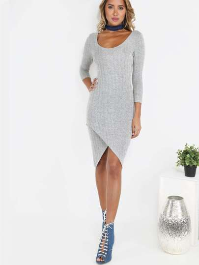 Off the Shoulder Sleeved Asymmetrical Dress GREY