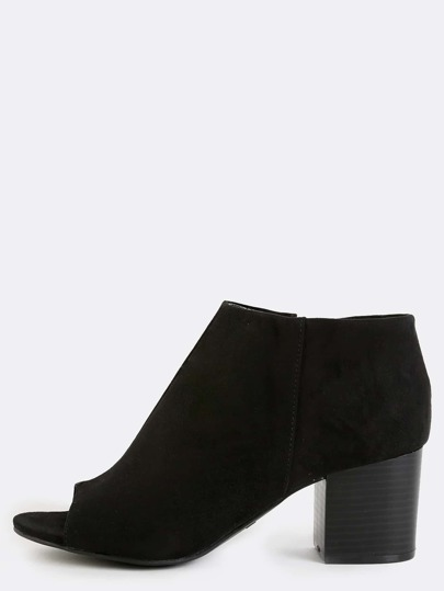 Peep Toe Stacked Heel Boots BLACK