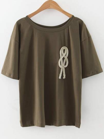Army Green Rope Embellished T-Shirt