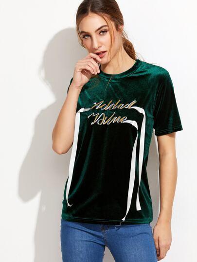 T-shirt en velvet avec broderie lettres - vert paon