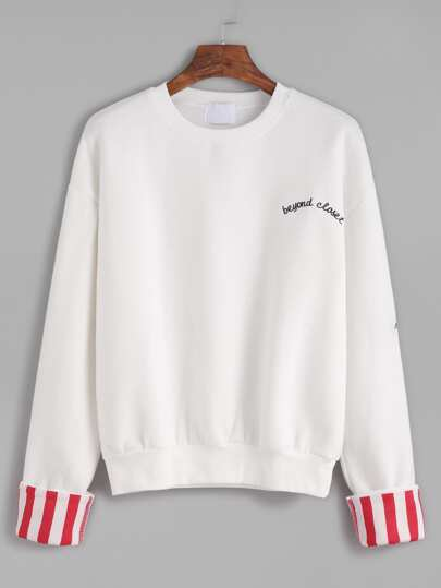 Embroidered Contrast Cuffed Sweatshirt