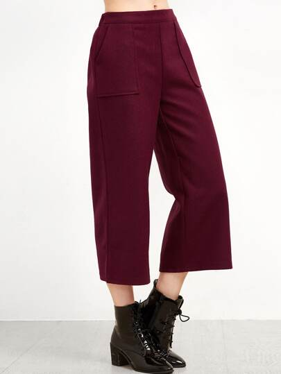 Burgundy Wide Leg Front Pockets Pants