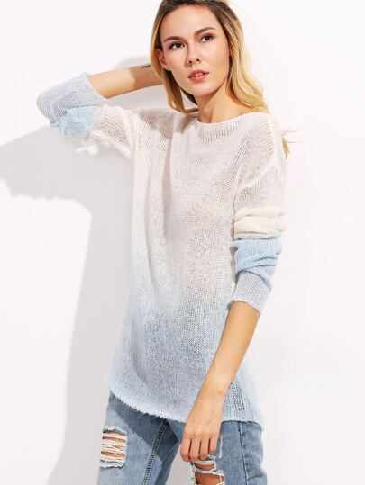 Ombre Boat Neck Loose Knit Sweater