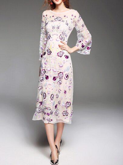 Vestido largo de gasa con bordado floral - blanco