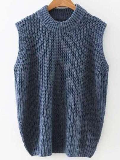 Navy Crew Neck Side Slit Sweater Vest