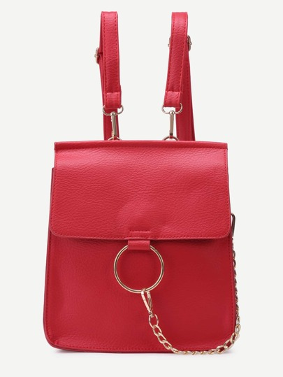 Red Faux Leather Circle Ring Flap Mini Backpack