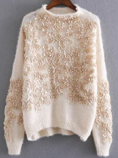 Apricot Flower Detail Drop Shoulder Mohair Sweater