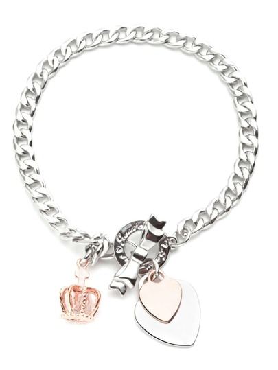 Ton-Herz-Kronen-Charme-Armband-silber