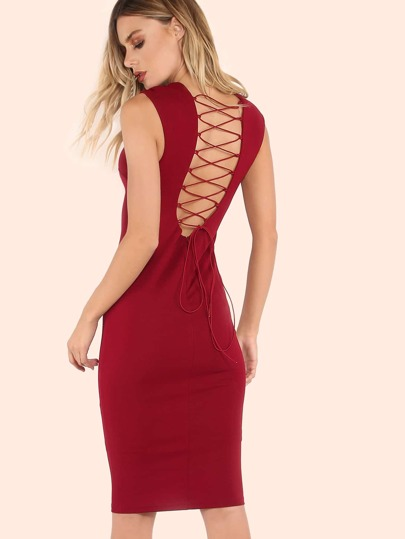 Plunge Cup Back Strap Dress BURGUNDY