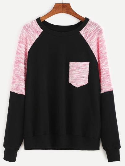 Contrast Raglan Sleeve Mixed Media Sweatshirt