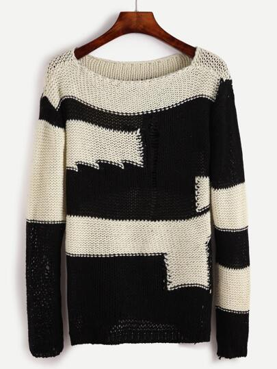 Color Block Hollow Out Chunky Knit Sweater