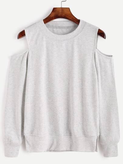 Grey Open Shoulder Sweatshirt