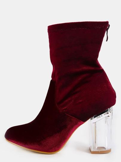 Velvet Perspex Heel Booties BURGUNDY