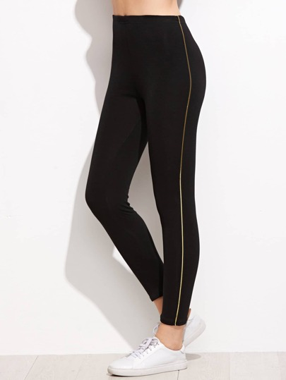 Black Leggings With Stripe Side In Gold