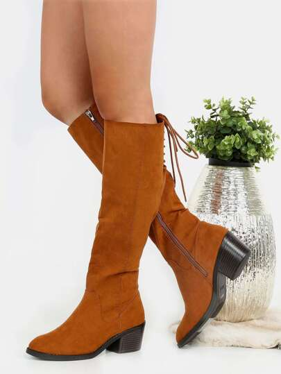 Lace Back Suede Chunky Knee Boots CHESTNUT