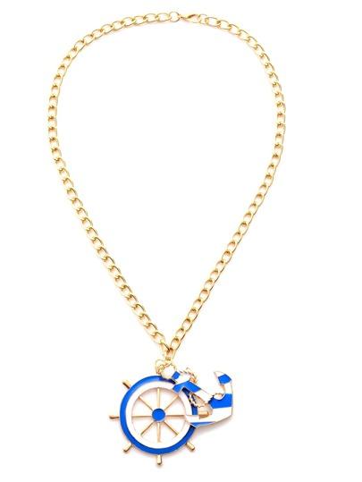 Gold Plated Ship Wheel Anchor Pendant Necklace