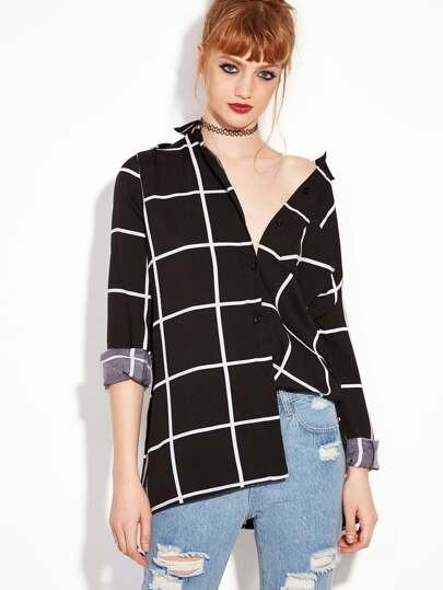 Black Long Sleeve Plaid Buttons Shirt