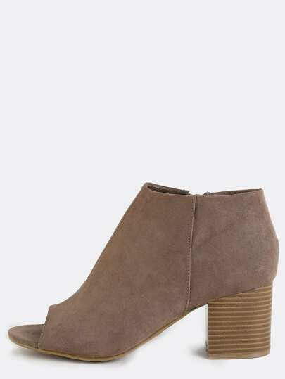 Low Cut Stacked Heel Boots TAUPE