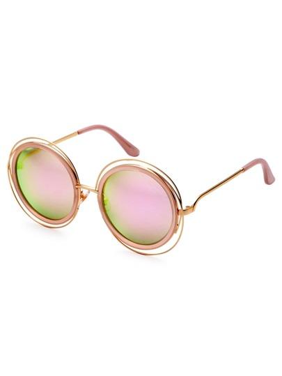 Gold Frame Pink Lens Sunglasses