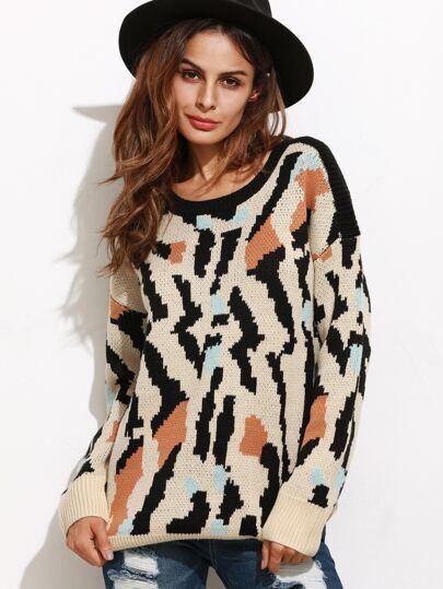 Multicolor Leopard Print Ribbed Trim Sweater
