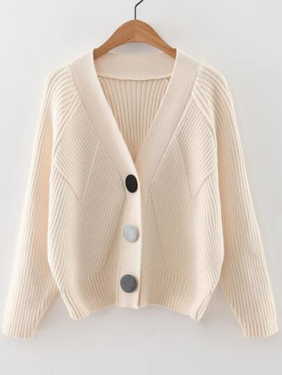 Beige Raglan Sleeve Button Up Sweater Coat