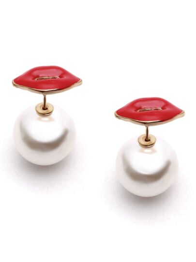 Red Lips Faux Pearl Stud Earrings