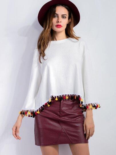 White Drop Shoulder Fringe Trim T-shirt