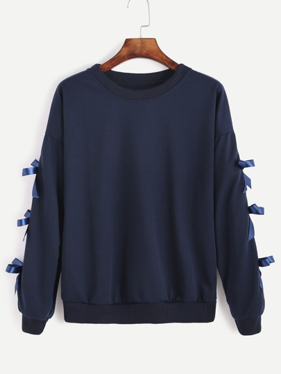 Navy Drop Shoulder Bow Tie Sleeve Sweatshirt