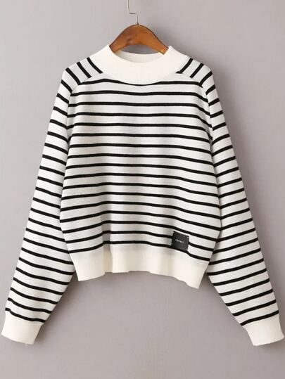 White Striped Crew Neck Batwing Sleeve Sweater
