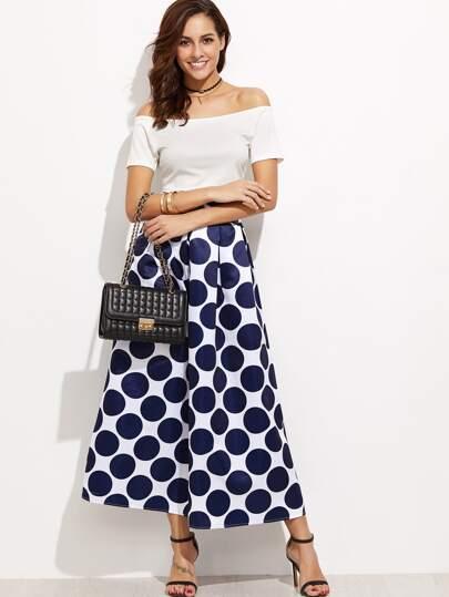 Navy Polka Dot High Waist Skirt